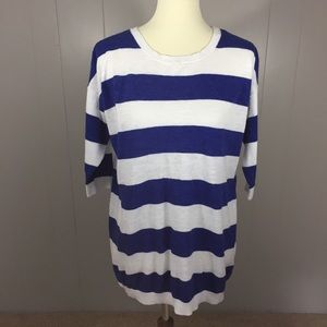Blue and white stripe nautical tunic sweater